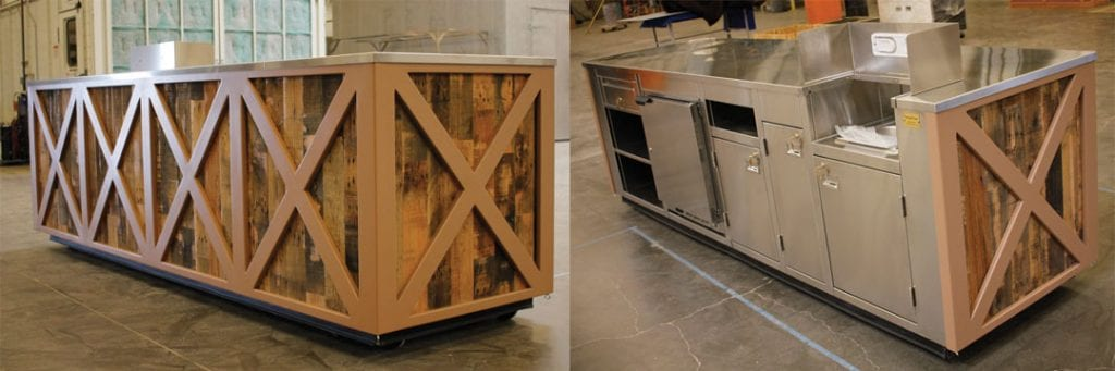 outdoor churro cart, stainless steel, outdoor wood construction